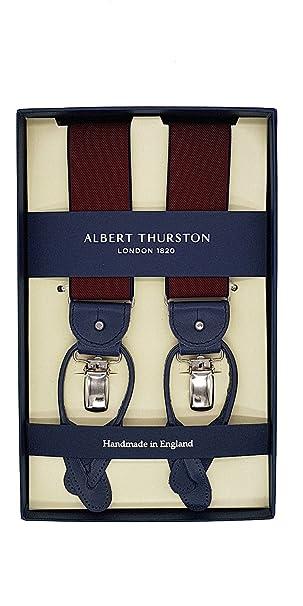 ultima vendita Nuova sulle immagini di piedi di Albert Thurston Bretelle Uomo Bordeaux Rifiniture in Pelle ...