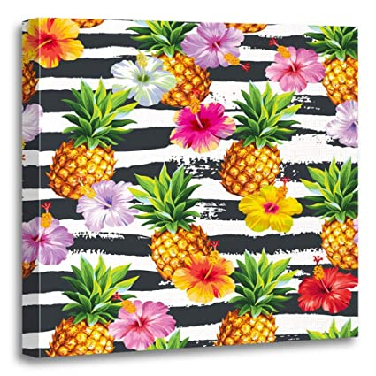 73c809bf2f Emvency Painting Canvas Print Artwork Decorative Print Fruit Hawaiian with  Pineapples and Hibiscus Flowers on Striped