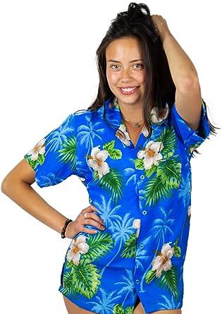 Original King Kameha | Funky Camisa Hawaiana Mujeres | XS-6XL | Manga Corta Bolsillo Delantero | impresión De Hawaii| Pequeña Flor|diferentes colores: Amazon.es: Ropa y accesorios