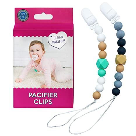 Baby Teething Pacifier Clips Set Universal BPA Free Silicone Beaded Binky Holder
