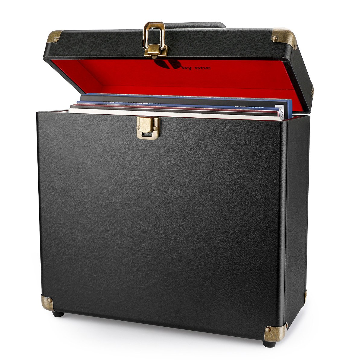 Black 472US-0003 1byone Vinyl Record Storage Case for 30 Albums