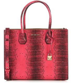 19ad6076f628 Michael Kors Studio Mercer Snake Medium Large Convertible Tote Ultra Pink Leather  Bag New