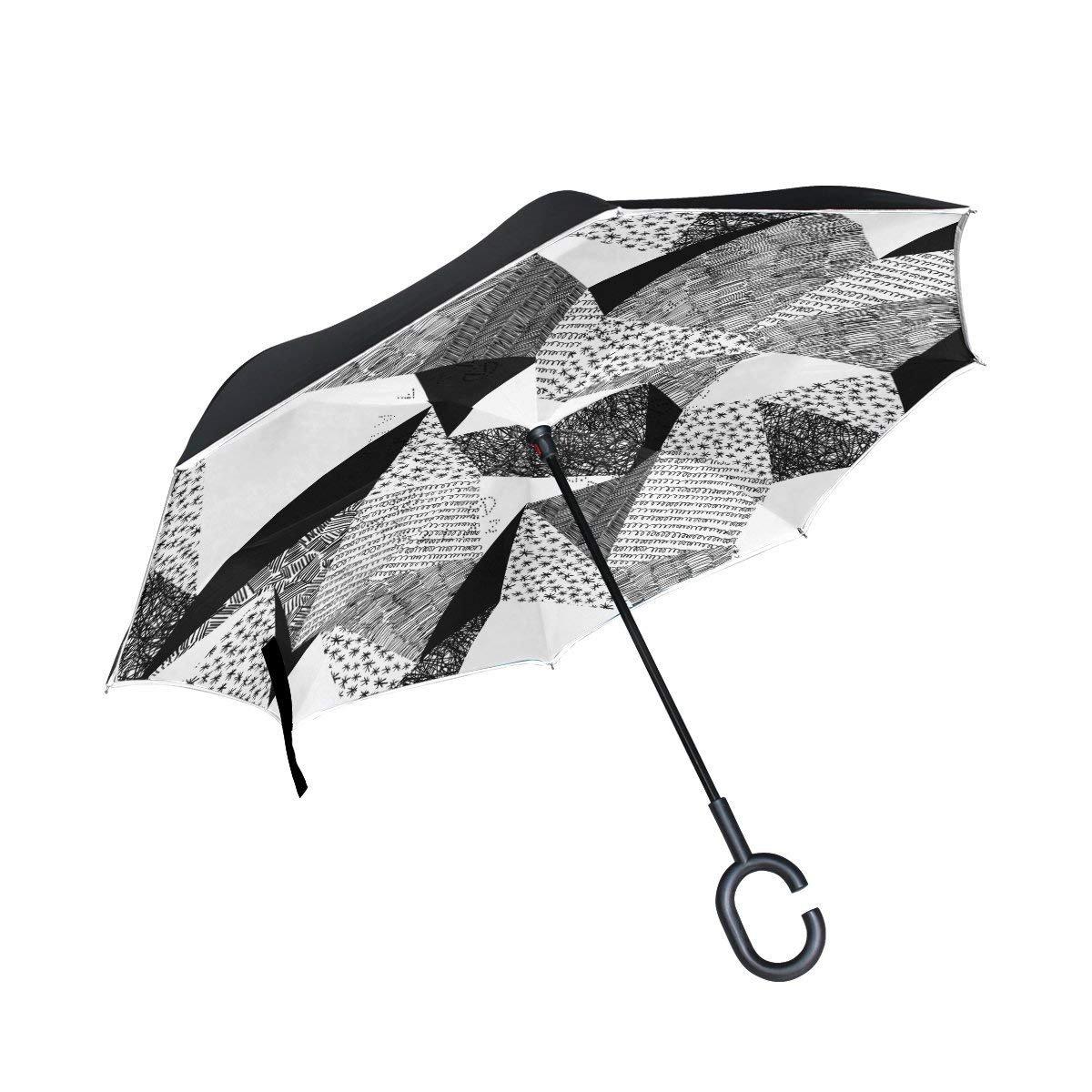All agree 反転傘 フラミンゴの花の葉 防風 車 雨 アウトドア One Size カラー4 B07GBQ3P17