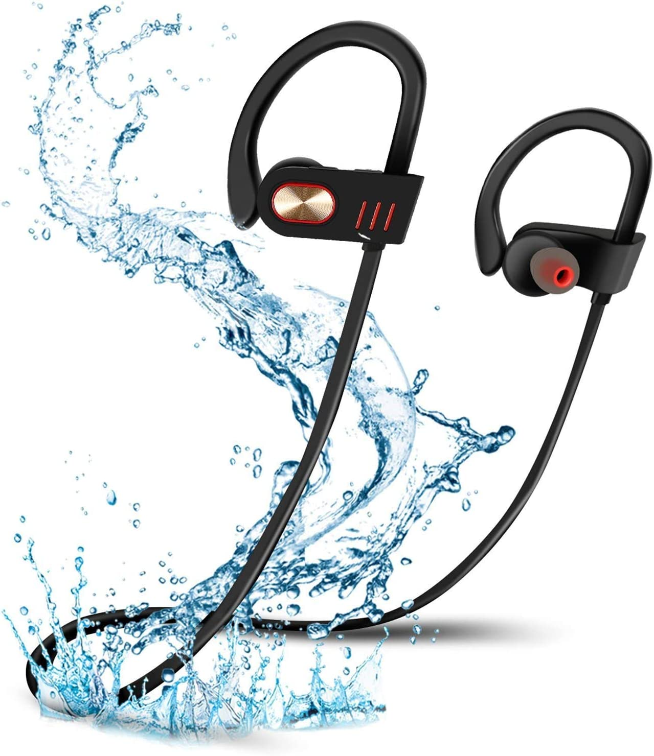Bluetooth Headphones, Best Wireless Sports Earphones HD Stereo Sweatproof Earbuds with Mic Ergonomic Design for Gym Running Workout 8 Hour Battery Noise Cancelling Headsets Black M32