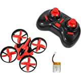 Hatunan Mini Quadcopter Top Selling Drone with Headless Mode RTF Helicopter UFO Drone with GYRO 2.4G 4CH 6 Axis AR Flying RC Copter with LED Lights, Remote Control and Wind Propeller - Red - Kids Toys