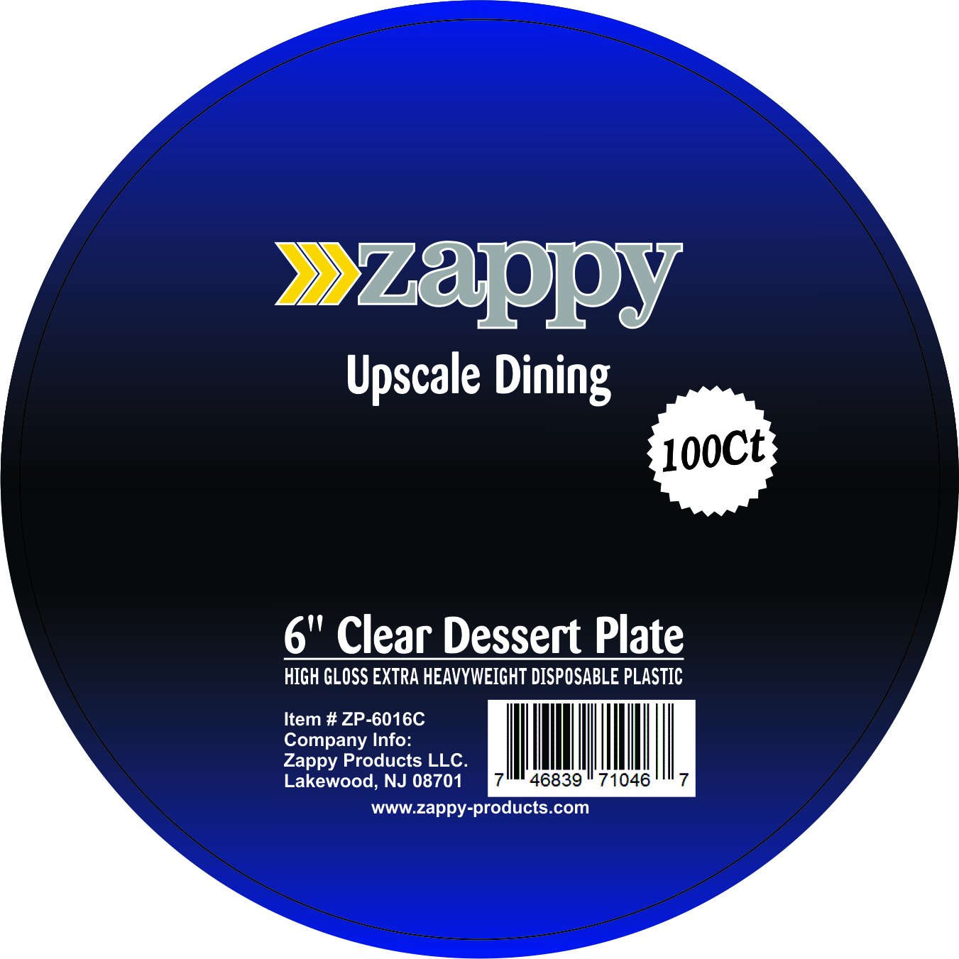 Zappy 100 Disposable Plastic Dessert Plates Premium Quality Plastic Plates, 6'' Hard Disposable Plastic Plates, Clear Appetizer Dinner Party Plates Great Dessert Appetizer Wedding Plates Party Plates