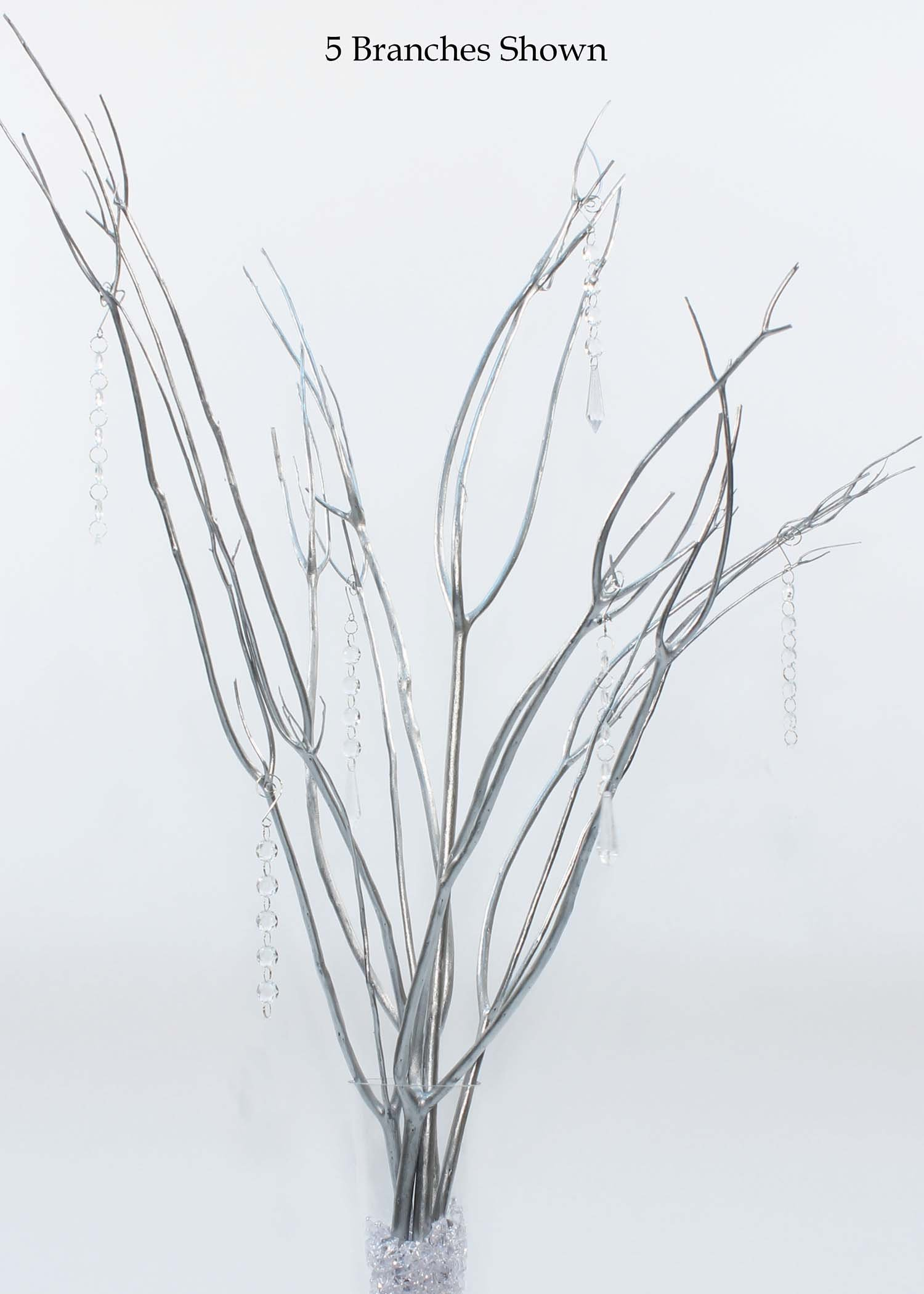 GreenFloralCrafts 3-4ft Tall Mitsumata 50 Silver Branches & Hanging Crystal Centerpiece Kit (Vase Not Included) by Green Floral Crafts