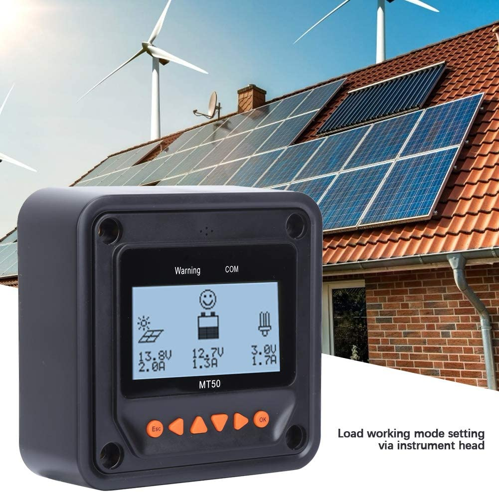 Medidor Lcd para Controlador de Carga Solar Controlador de Carga Solar Mt-50 Sistema Regulador de Carga de Bater/ía Lcd