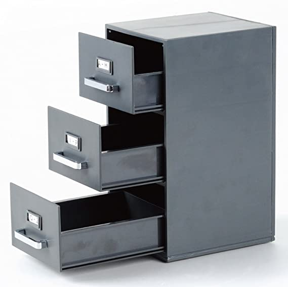 Mini archivador de 22,86 cm para escritorio, para archivar tarjetas de visita de 85 x 55 mm, con 3 cajones, color negro: Amazon.es: Oficina y papelería