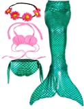 Jeferym Mermaid Tails Swimsuits for Swimming Bikini Set Can add Monofin for Toddler Big Girls B Shining Green 10-14 Years 150