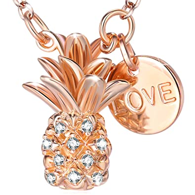 1289ee1ef Pineapple Pendant Necklaces for Women - Exquisite 18K Rose Gold  Electroplate Brass Necklace for women Made