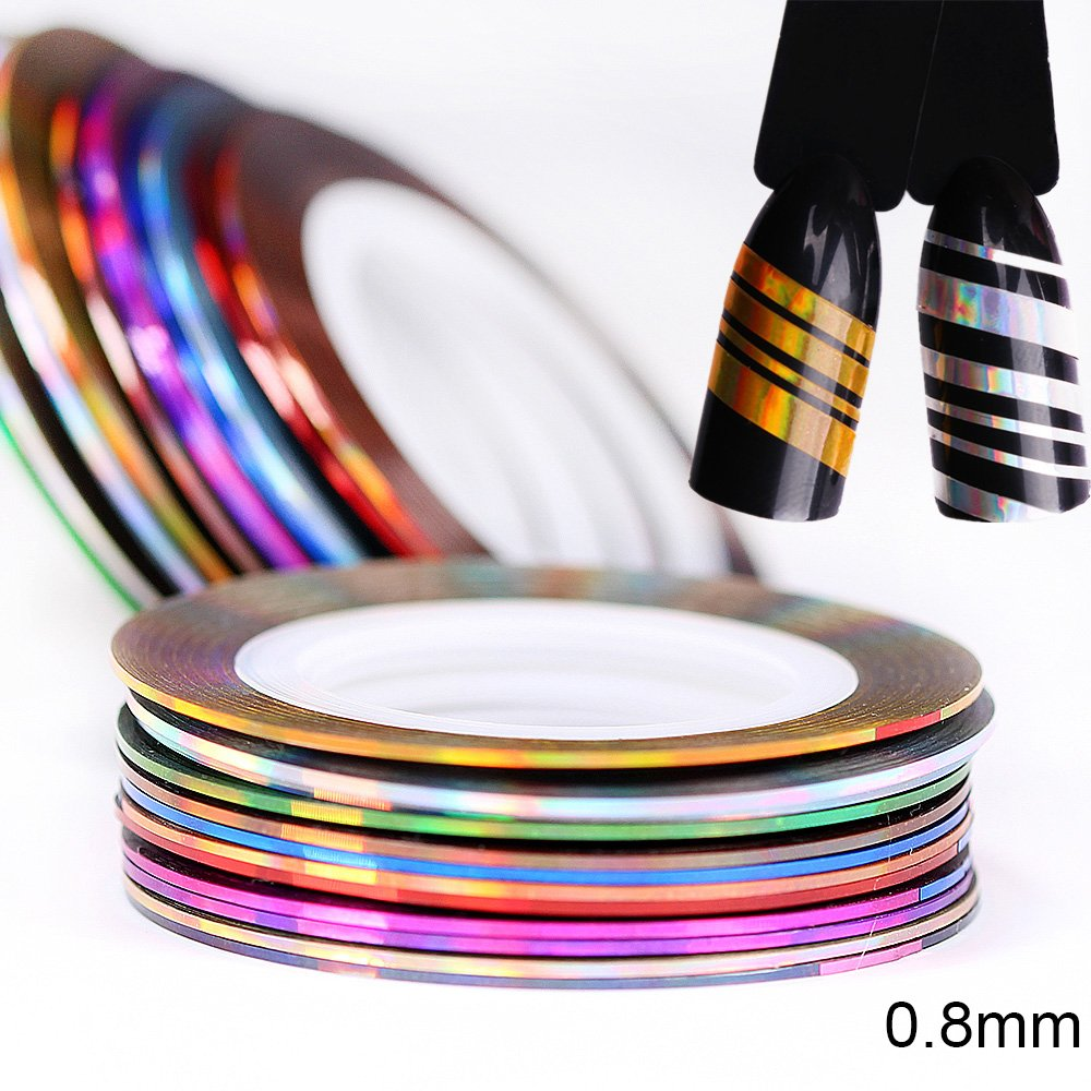 BlueZOO 24pcs Holographic Nail Striping Tapes Shining Laser Adhesive Line Decal 12 Colors DIY Styling Sticker 2mm