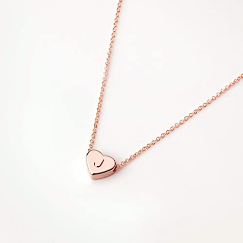 Amazon Com Rose Gold Initial Necklace Valentine S Day Gifts For Her Personalized Necklace Heart Necklace J Fhn Handmade