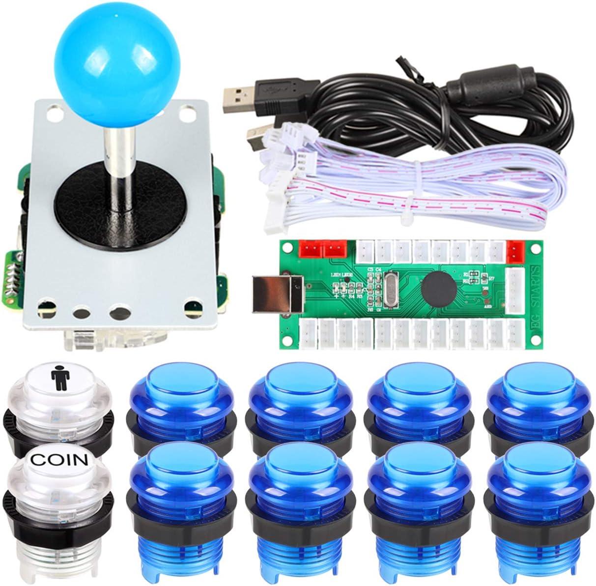 EG STARTS 1 jugador USB LED Encoder para PC Juegos Blue Stickers Controllers + 10x LED Botones iluminados para Arcade Joystick DIY Kits Partes Mame Raspberry Pi 1 2 3 3B