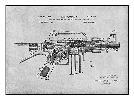 Amazon.com: AR-15 Assault Rifle M16 Patent Print Art Poster UNFRAMED Gray 18