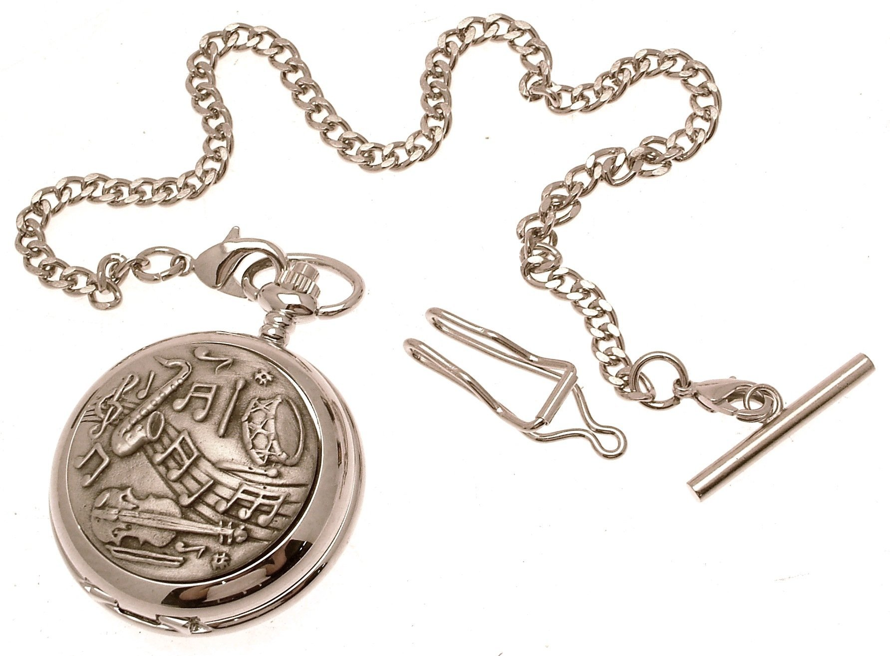Engraving included - Pocket watch - Solid pewter fronted quartz pocket watch - Musical design 43
