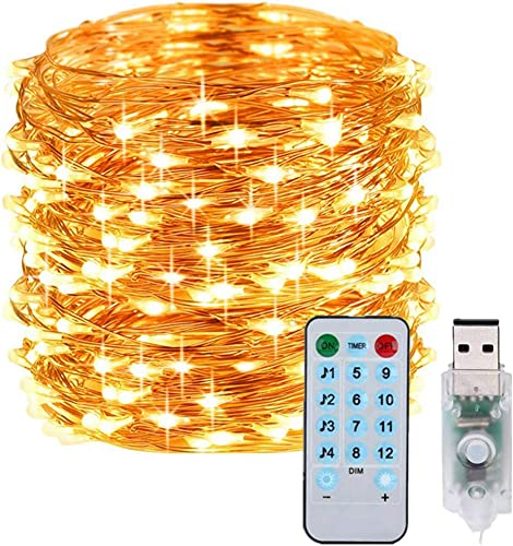Outdoor String Lights 8 Modes 33ft 100LED Copper Wire Fairy Starry String Lights Battery Powered with Remote Control for Indoor Christmas Waterproof Lighting Warm White with Music