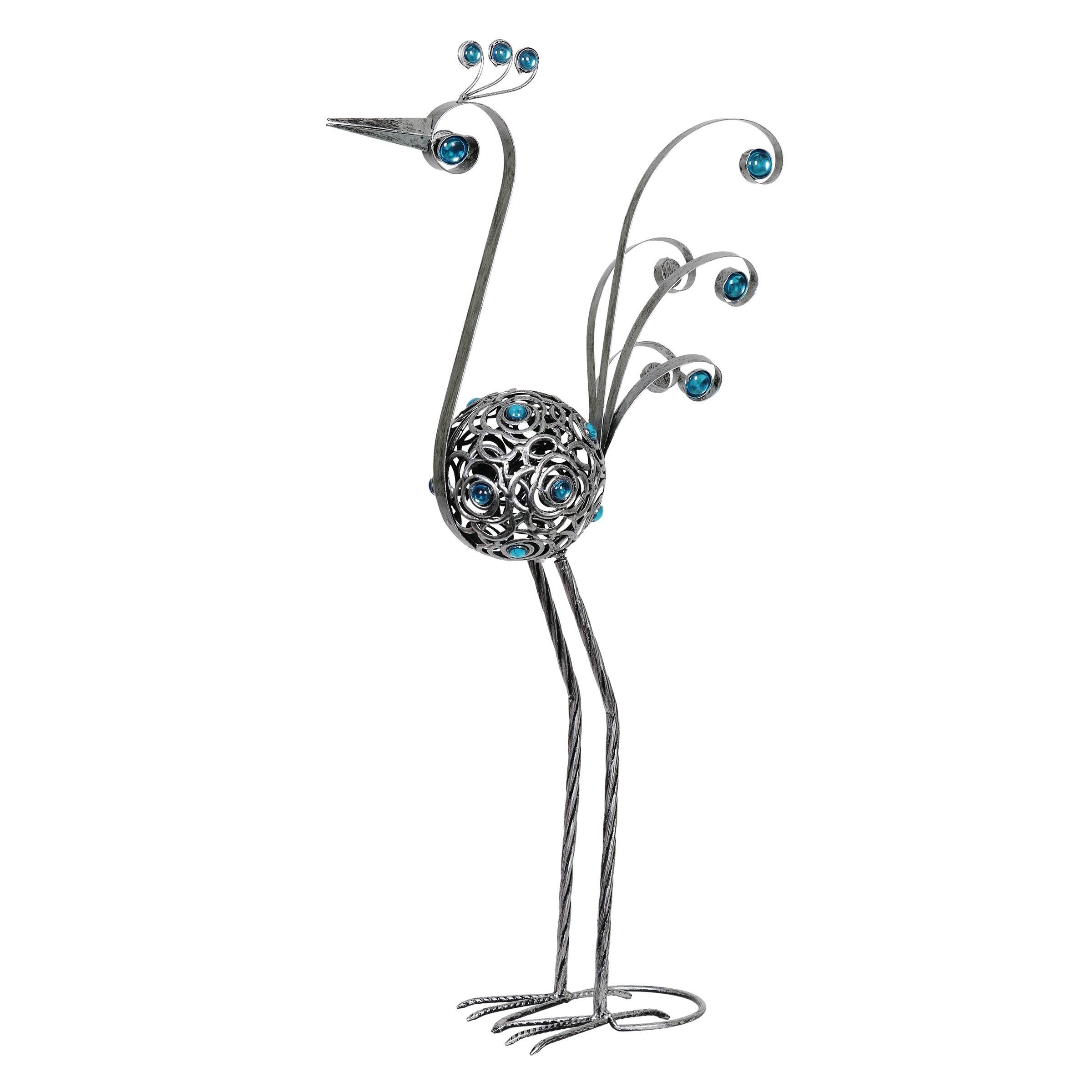 28 Inch Pewter Filigree Bird Statue, Statuary, Metal, Elegant Bird, Home/Indoor / Outdoor Decoration
