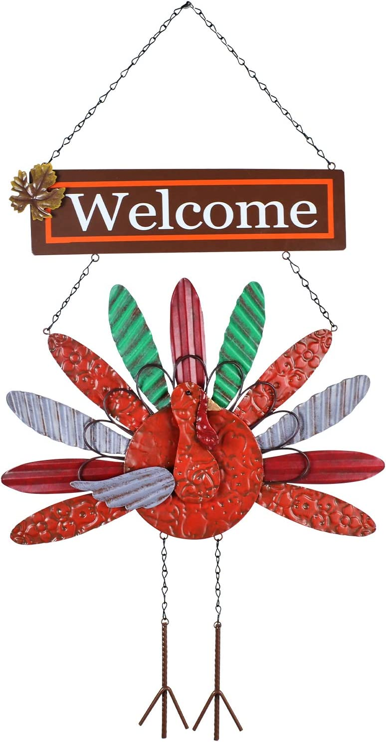 ALLADINBOX 27'' Thanksgiving Metal Turkey Hanging Decoration, Thanksgiving Day Turkey Welcome Sign, Front Door Autumn Fall Harvest Home Wall Hanging Décor