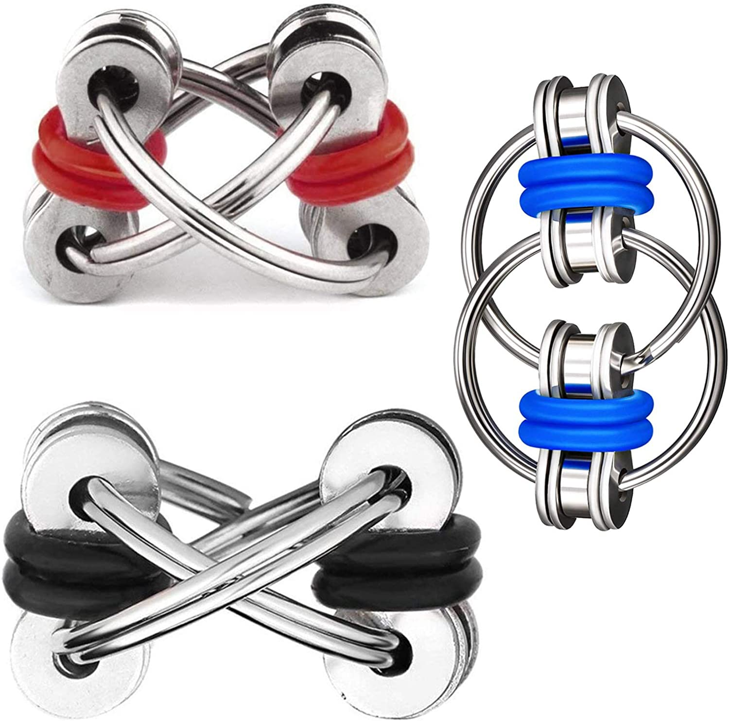 DBlosp Fidget Toy Flippy Chain Stress Anxiety Relief Chain ADHD and ADD, Anxiety Relief Bike Chain Toys for Adults and Teens (3 Pack)