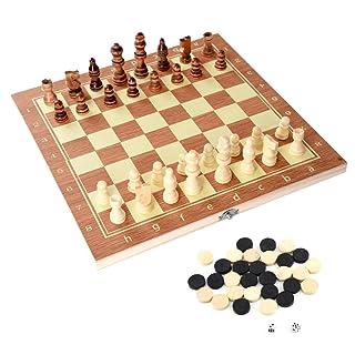 VGEBY Scacchi Dama e Backgammon in Legno con Confezione Portatile, 3-in-1 Scacchiera Standard Pieghevole Gioco Intelligente 34 x 34 cm .