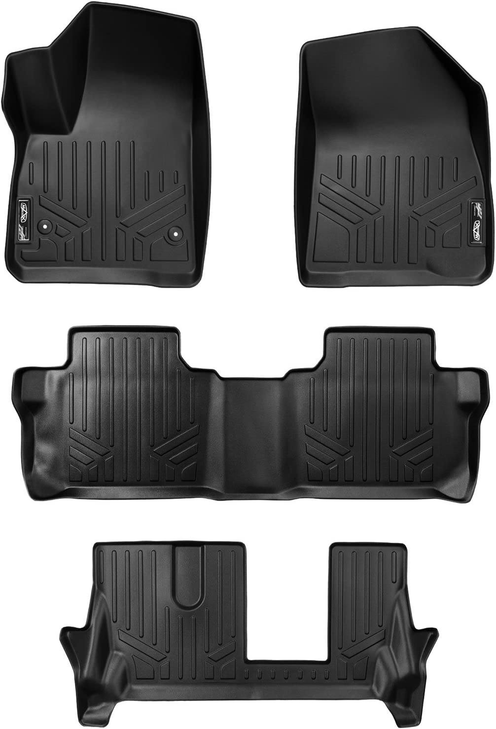 SMARTLINER Custom Fit Floor Mats 3 Row Liner Set Black for 2017-2019 GMC Acadia with 2nd Row Bench Seat