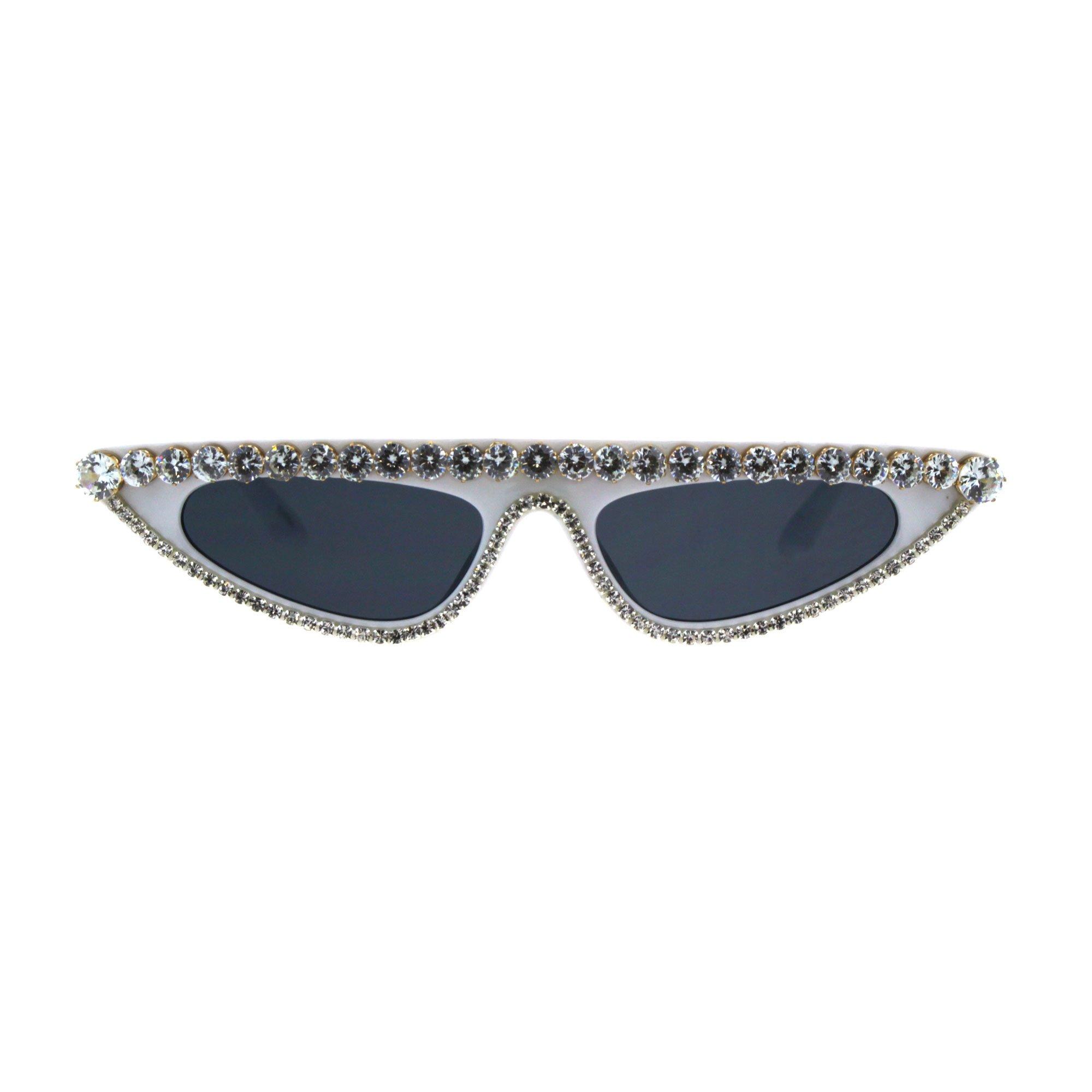 Womens Large Rhinestone Bling Flat Top Narrow Cat Eye Goth Sunglasses White