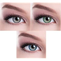 Soft Eye Green,Grey And Dark blue Colored Contact Lens 2 Pair Monthly Disposable With Case And Solution