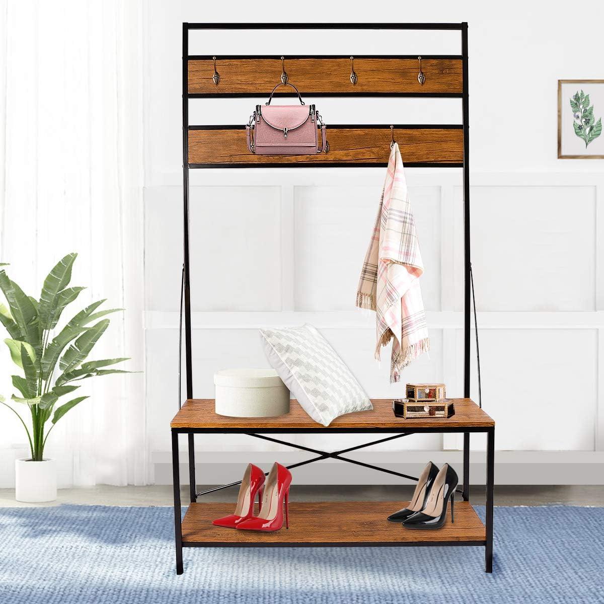 LASUAVY Ladder Shelf Bookcase Multi-Functional Modern Wood Storage Display Open Bookshelf Four
