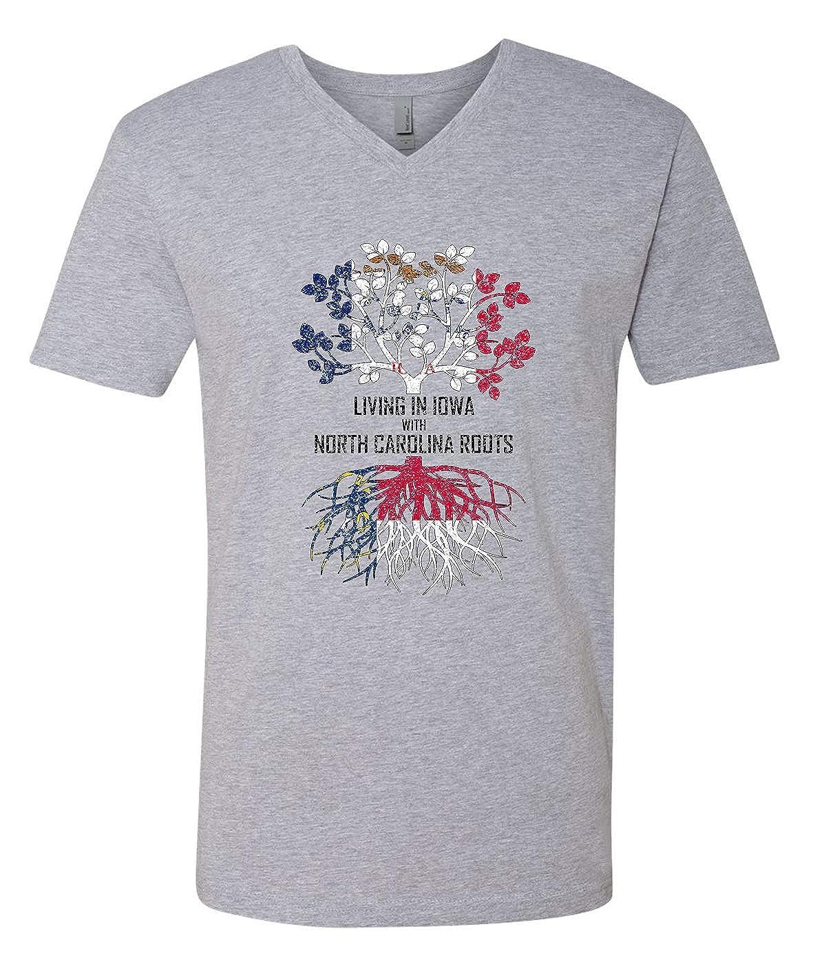 Tenacitee Mens Living in Iowa North Carolina Roots T-Shirt