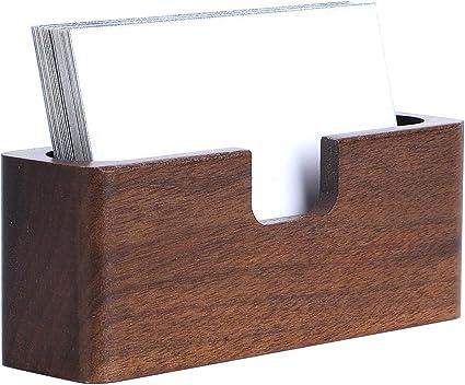 Yosco - Tarjetero de madera para tarjetas de visita de escritorio ...