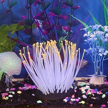 Acuario Coral, qhj casa suave Artificial Resina Coral Fish Tank Acuario Planta Decoración Agua Plantas