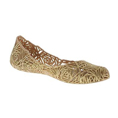 8be1fecbe99eea Glaze Women s Flat Heel Summer Beach Jelly Shoe Alaska-10 (Gold ...