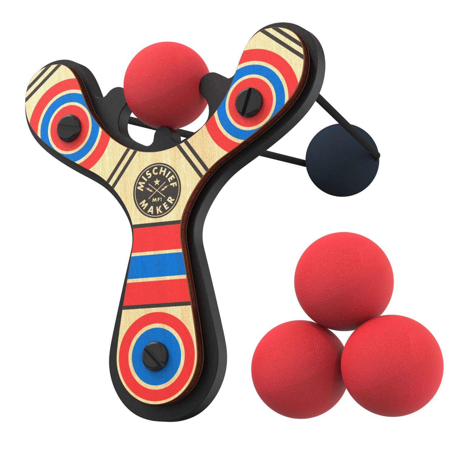 Mighty Fun! Mischief Maker Wooden Toy Slingshot Real Wood and Soft Foam Balls (Red Classic)
