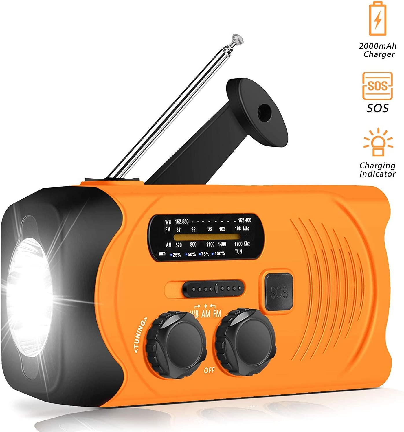 Upgraded Version Emergency Weather AM//FM NOAA Solar Powered Wind up Radio with SOS 2000mAh Power Bank for Cell Phone and LED Flashlight MYYYYI