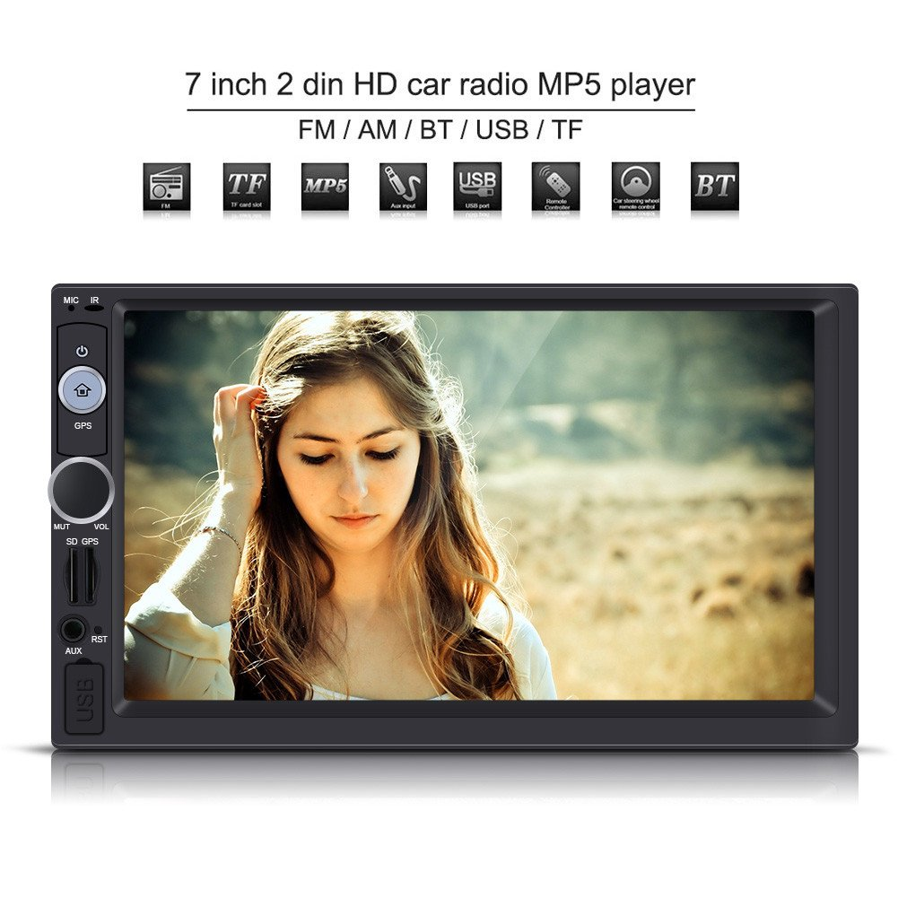 Qiilu 7 Pulgadas 2 DIN Reproductor Multimedia MP5 HD Pantalla táctil Bluetooth GPS Estéreo Radio FM/USB/AUX / MP5 Player para Coche: Amazon.es: Electrónica