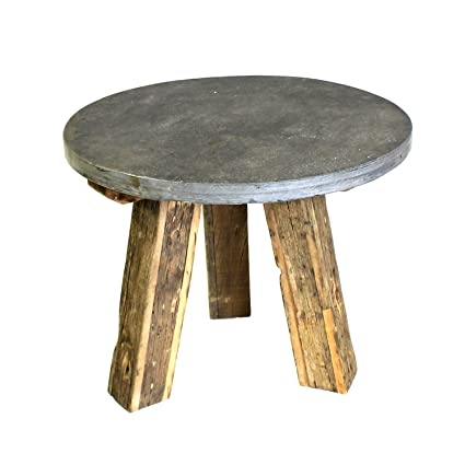 Reclaimed Wood 24u0026quot; Accent Table Slate Top | Rustic Stone Industrial