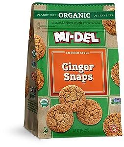 Mi-Del Organic Classic Ginger Snaps, 8 Oz. Bags(Pack of 8)