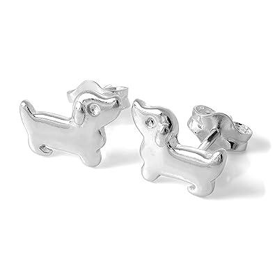 41983e486 Sterling Silver Dachshund Dog Stud Earrings: Amazon.co.uk: Jewellery