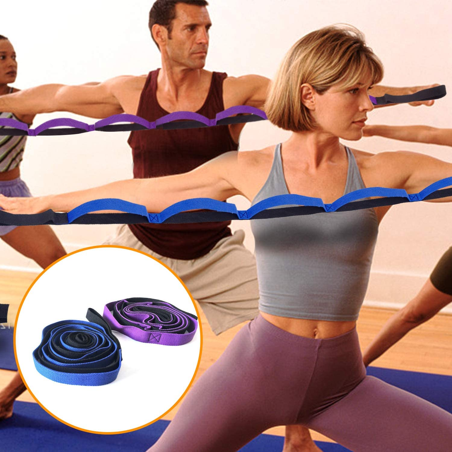 Dance and Gymnastics with 8 Loops Fitness Strength Training Rope Nonelastic Belt with Carry Bag Vetoo Stretch Strap,Yoga Strap Exercise Physical Therapy Pilates