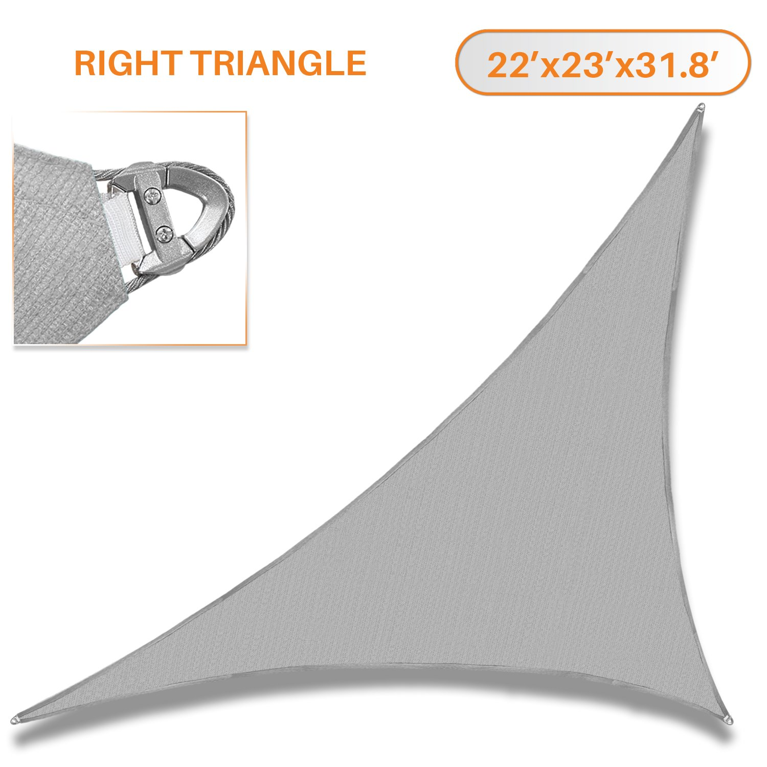 Sunshades Depot A Ring Design Steel Cable Wire Reinforcement 22' x 23' x 31.8' Right Triangle Sun Shade Sails Light Gray Heavy Duty Permeable 260 GSM