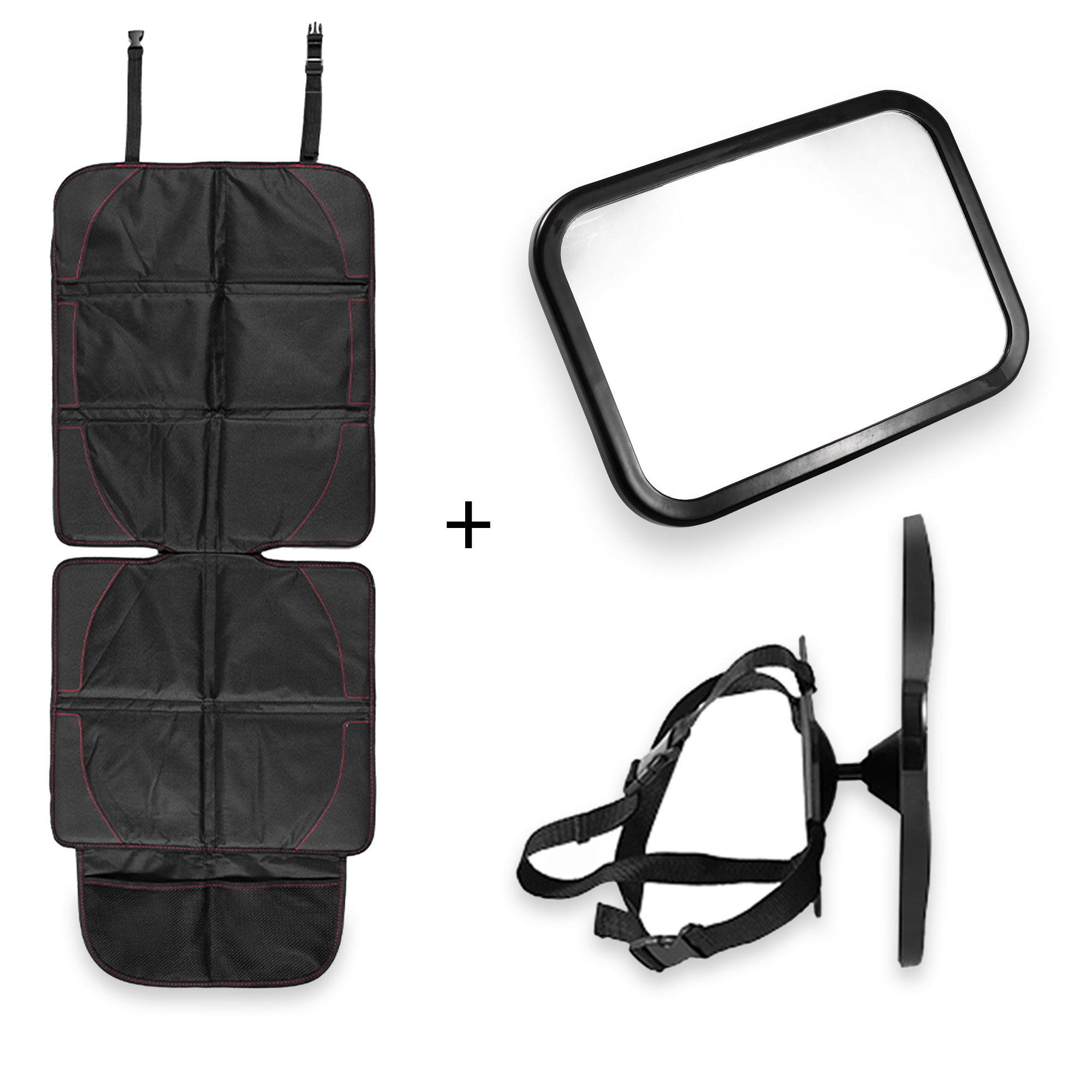 Simply Proper - Car Seat Protector & Baby Mirror Set Premium Waterproof Thick Pad Seat Cover with Large Mesh Pockets & a Shatterproof Infant Rear View Mirror Great for Rear Facing Car Seats