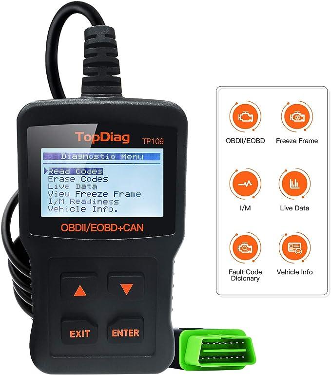 TopDiag TP-109 Lector de Código de Coche Universal OBD2 Escáner Herramienta de Diagnóstico con Interfaz Estandar 16 Pinespara Vehiculos para Lectura y Borrado de Códigos de Error: Amazon.es: Coche y moto