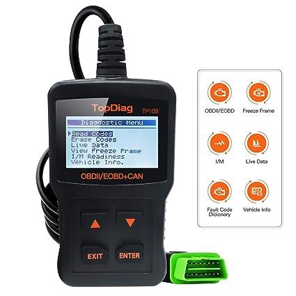 TopDiag Automóvil Motor Herramienta de Diagnóstico Profesional Lector de Código de Coche Escáner para Vehiculos TP-109 OBD2 Scanner Tool para Lectura ...
