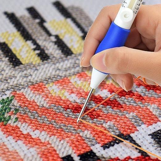 Juego de plumas mágicas de bordar, juego de agujas de punzón y plumas de bordar de niceEshop, kit de costura de hilos de bordar patrones de bordado, ...