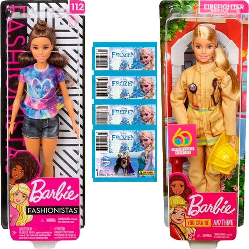Amazon.es: Barbie Pack 2 You Can Be Anything (Fashionista y Bombera) + Sobres Pegatinas Frozen: Juguetes y juegos