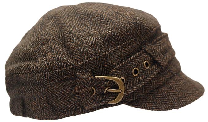 Ladies peaky baker boy newsboy brown herringbone cap - adjustable ...