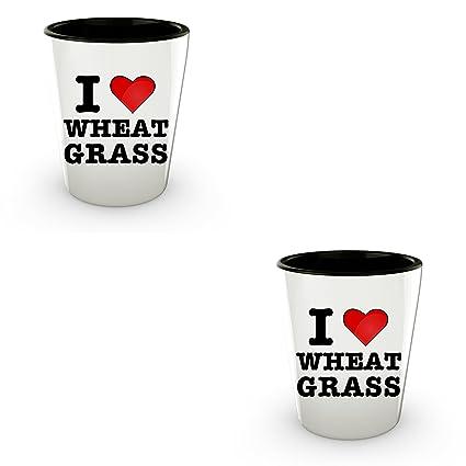 Wheatgrass Shot Glasses - I Love Wheat Grass - Cute Shotglasses - Vegan Gifts - Healthy