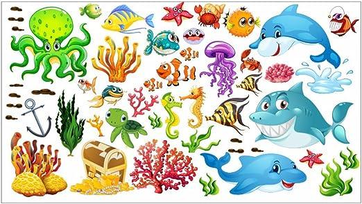 nikima - 059 Wandtattoo Wandbild Kinderzimmer Unterwasserwelt Fische Delfin  Hai Korallen Nemo - in 6 Größen - Kinderzimmer Sticker Wandaufkleber ...