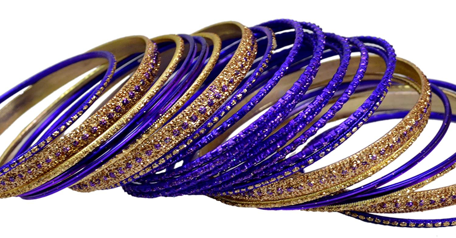 Purple Color Indian Traditional Bollywood Fashion Wedding Kundan Style Bangles Chudi